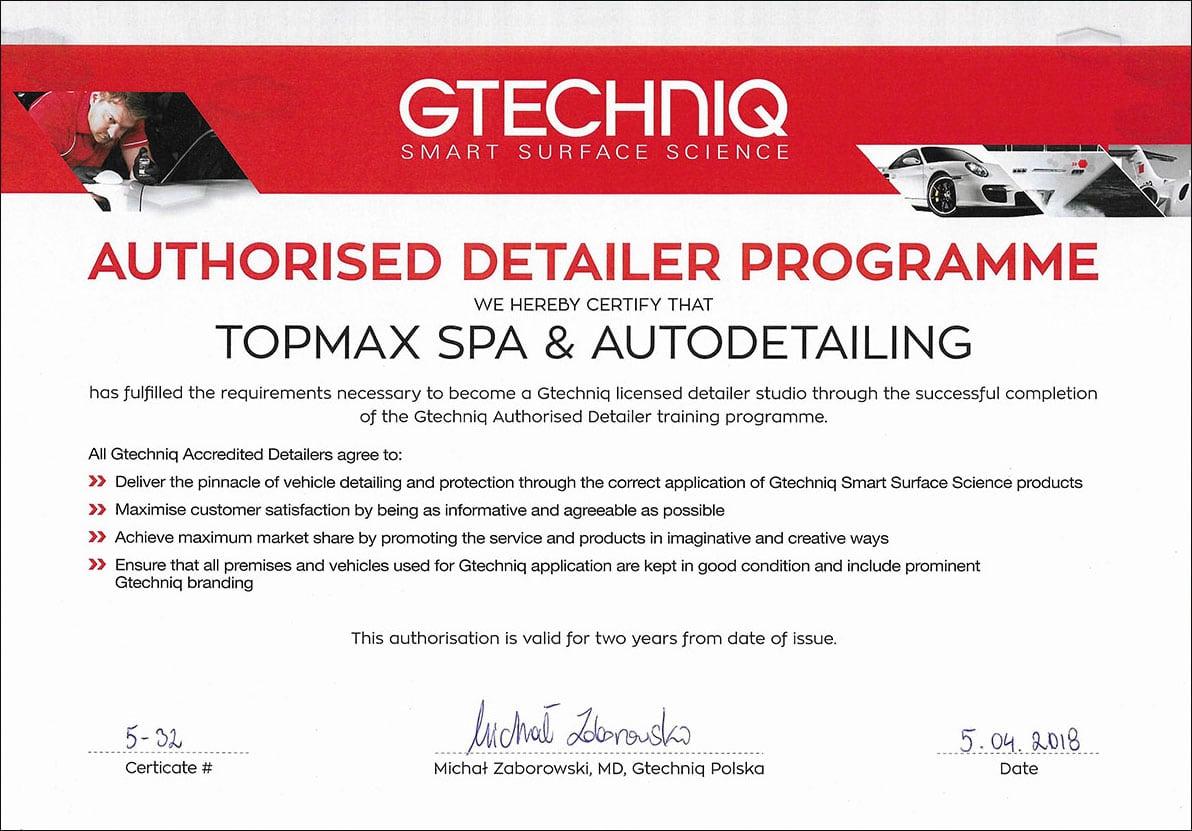 Certyfikat Gtechniq