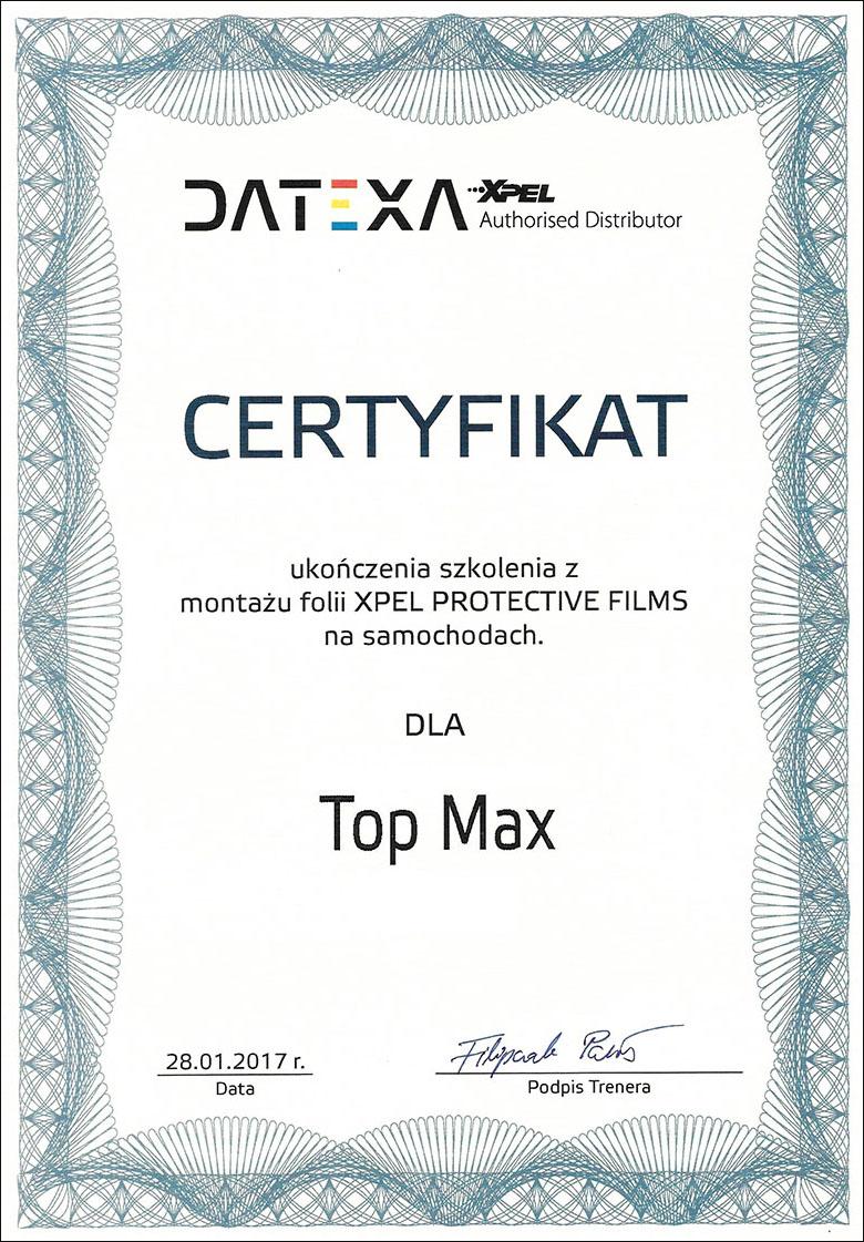 Certyfikat XPEL